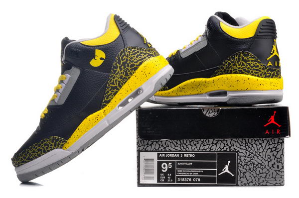 Air Jordan 3 Retro Shoes black/yellow gray